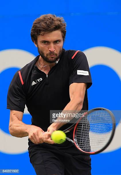 Gilles Simon of France hits a backhand during his first round match against Kyle Edmund of Great Britain on day three of The Aegon Championships at...