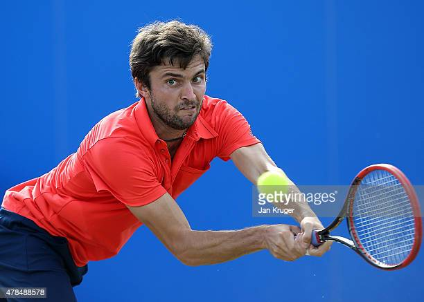 Gilles Simon of France in action against Sam Querrey during their quarter final match on day five of the Aegon Open Nottingham at Nottingham Tennis...