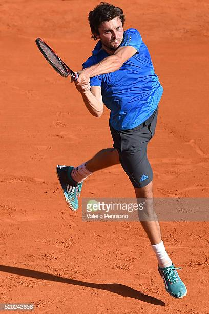 Gilles Simon of France in action against Viktor Troicki of Serbia during day One of the ATP Monte Carlo Masters at the MonteCarlo Country Club on...