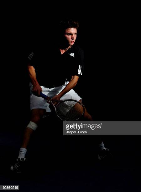 Gilles Simon of France in action during his quarter final match against Mikhail Youzhny of Russia during the ATP 500 World Tour Valencia Open tennis...