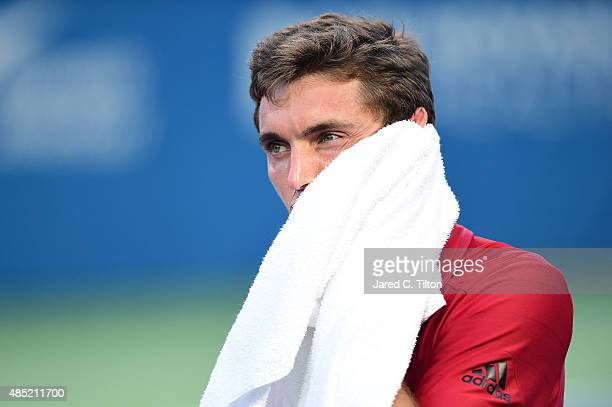 Gilles Simon of France looks on during his match against Aljaz Bedene of Great Britain during the second day of the WinstonSalem Open at Wake Forest...