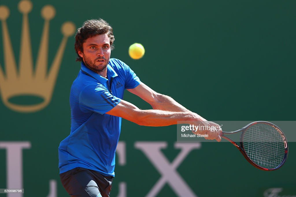 Gilles Simon of France makes a return during his 6-4, 6-3 victory against Grigor Dimitrov of Bulgaria during day three of the Monte Carlo Rolex Masters at Monte-Carlo Sporting Club on April 12, 2016 in Monte-Carlo, Monaco.