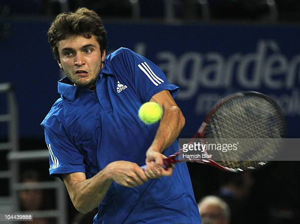 Gilles Simon of France plays a backhand during his semi final match against Philipp Kohlschreiber of Germany during day five of the Open de Moselle...