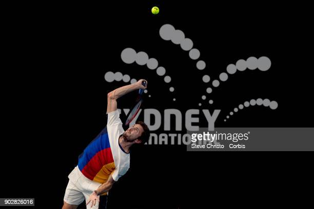 Gilles Simon of France plays a forehand in his first round match against Jared Donaldson of the United States during day three of the 2018 Sydney...