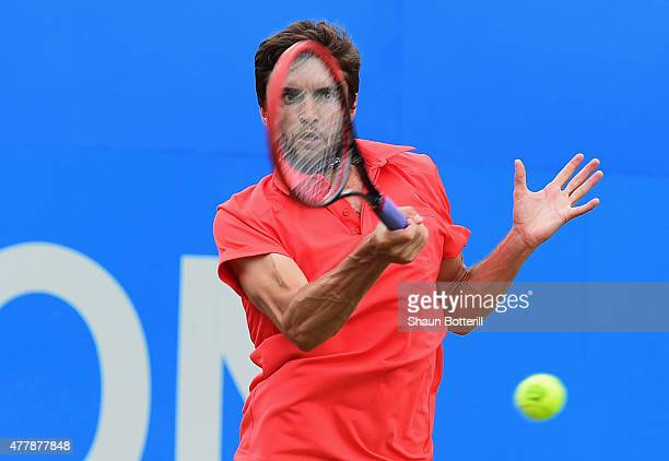 Gilles Simon of France plays a forehand in his men's singles semi-final match against Kevin Anderson of South Africa during day six of the Aegon...
