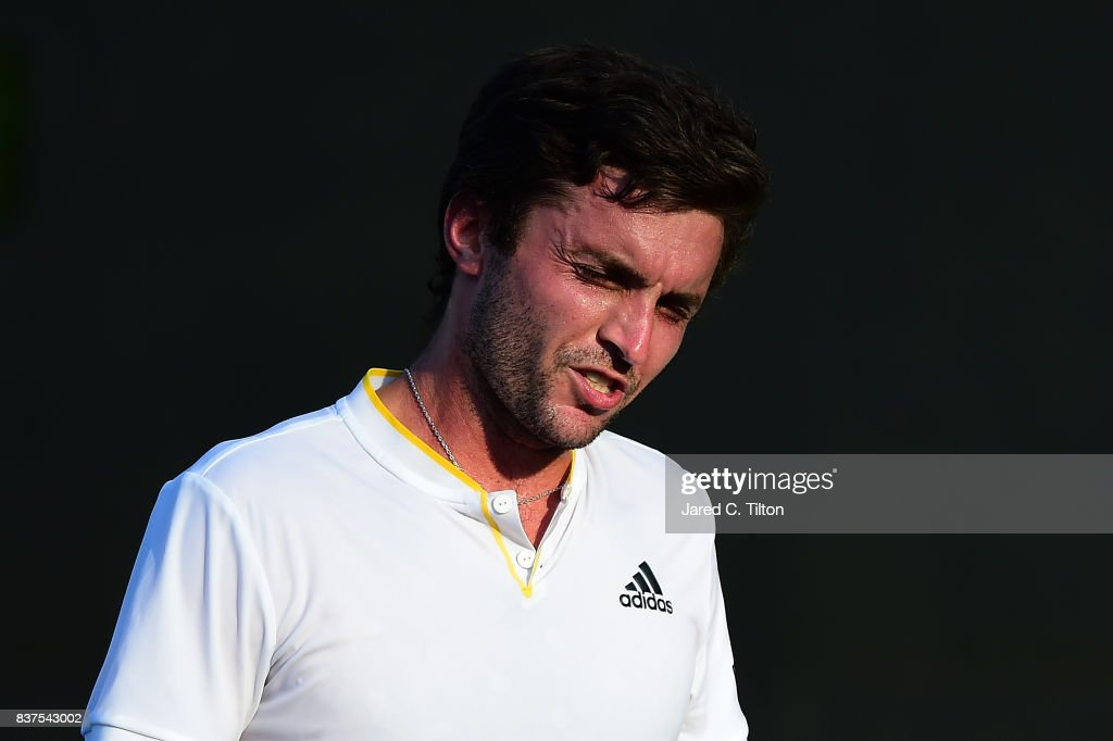 Gilles Simon of France reacts after a point against Damir Dzumhur of Bosnia during the fourth day of the Winston-Salem Open at Wake Forest University on August 22, 2017 in Winston-Salem, North Carolina.