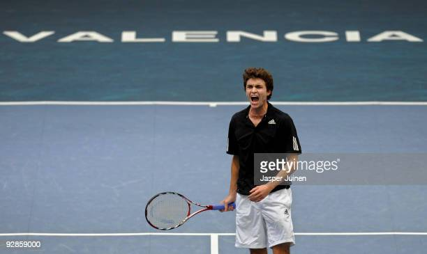 Gilles Simon of France reacts during his quarter final match against Mikhail Youzhny of Russia during the ATP 500 World Tour Valencia Open tennis...