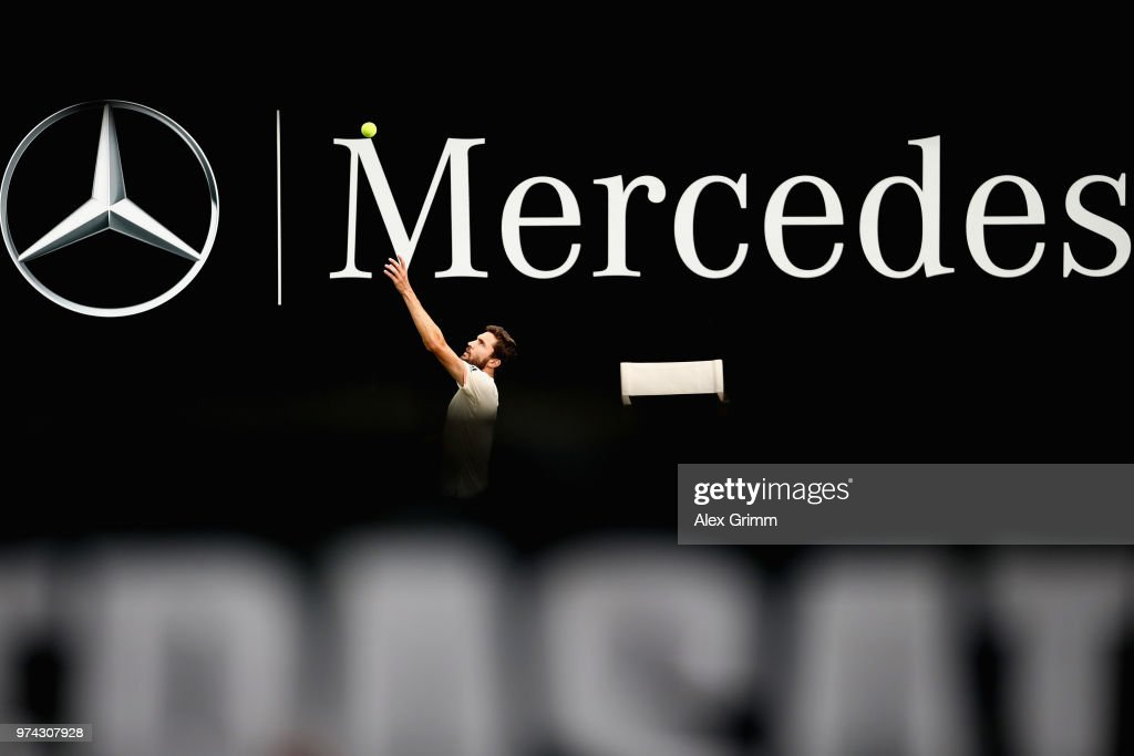 Gilles Simon of France serves the ball to Feliciano Lopez of Spain during day 4 of the Mercedes Cup at Tennisclub Weissenhof on June 14, 2018 in Stuttgart, Germany.