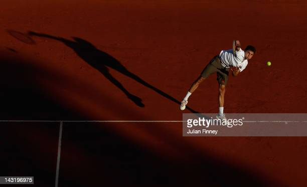 Gilles Simon of France serves to JoWilfried Tsonga of France during day six of the ATP Monte Carlo Masters on April 20 2012 in MonteCarlo Monaco