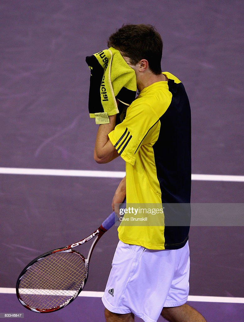Gilles Simon of France shows his dejection against Andy Murray of Great Britain during the final at the Madrid Masters tennis tournament at the Madrid Arena on October 19, 2008 in Madrid, Spain.