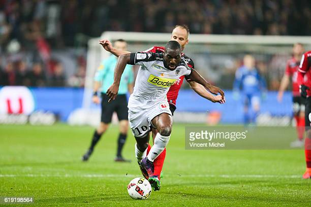 Gilles Sunu of Angers during the Ligue 1 match between Guingamp and Angers at Stade du Roudourou on October 29 2016 in Guingamp France