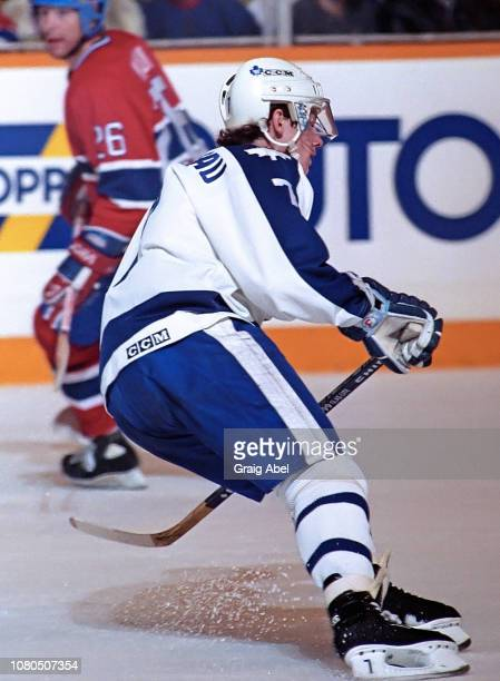 Gilles Thibaudeau of the Toronto Maple Leafs skates against the Montreal Canadiens during NHL game action on January 27 1990 at Maple Leaf Gardens in...