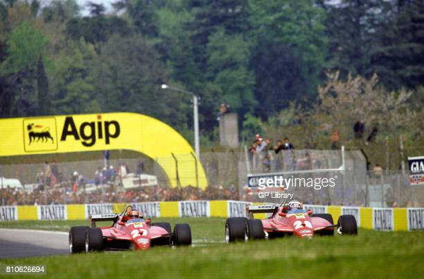 Gilles Villeneuve 2nd and Didier Pironi 1st in Ferrari 126C2s at Imola San Marino GP