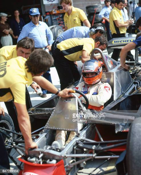 Gilles Villeneuve a canadian motor racing driver in the pits Imola 1979