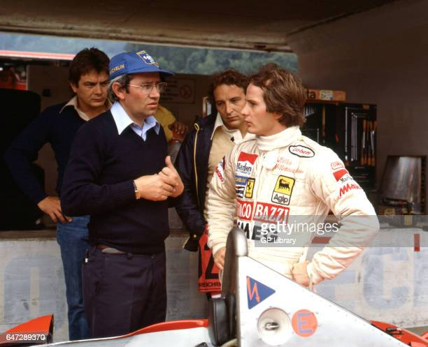 Gilles Villeneuve a canadian motor racing driver in the pits in Austria 1979