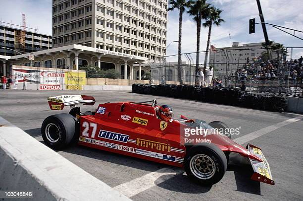 Gilles Villeneuve drives the Scuderia Ferrari 126CK during the United States Grand Prix West on 15 March 1981 at the Long Beach street circuit in...