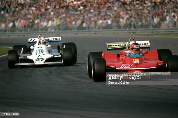 Gilles Villeneuve Ferrari 312T4 Grand Prix of Canada Ile Notre Dame Circuit 30 September 1979 Gilles Villeneuve ahead of Alan Jones in a ferocious...