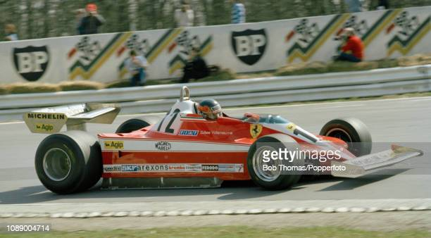 Gilles Villeneuve of Canada driving the Ferrari 312T3 during the Race of Champions at the Brands Hatch circuit in Fawkham England on April 15 1979