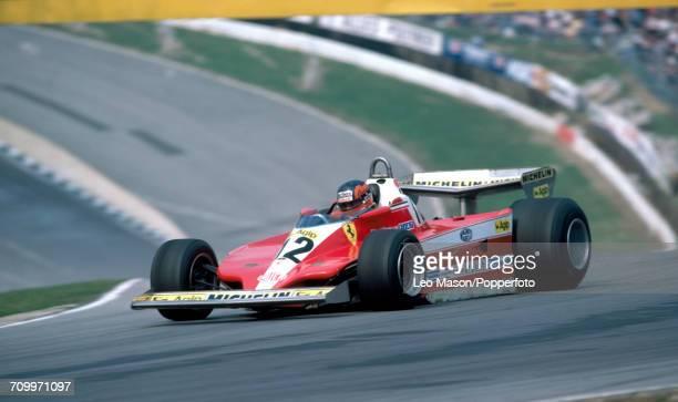 Gilles Villeneuve of Canada enroute to first place, driving a Ferrari 312T4 with a Ferrari Flat-12 engine for Team Scuderia Ferrari, during the 1979...
