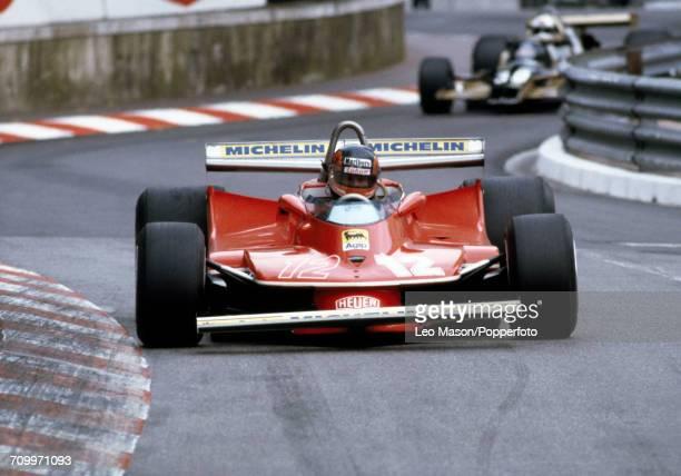 Gilles Villeneuve of Canada in action driving a Ferrari 312T4 with a Ferrari Flat12 engine for Team Scuderia Ferrari during the Monaco Grand Prix at...