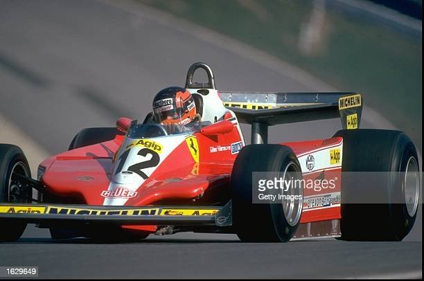 Gilles Villeneuve of Canada in action in his Scuderia Ferrari during a Formula One race Mandatory Credit Allsport UK /Allsport