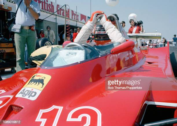 Gilles Villeneuve of Canada in the Ferrari 312T4 during the British Grand Prix at the Silverstone Circuit in Northampton England on July 14 1979
