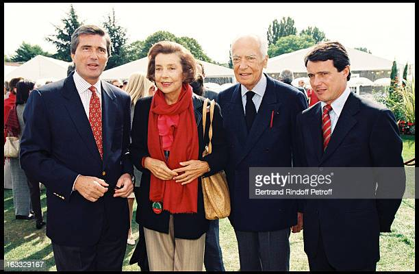 Gilles Weil Vice President L'Oreal Liliane Bettencourt and Andre Marc Menesguen at theLancome 1997 Trophy