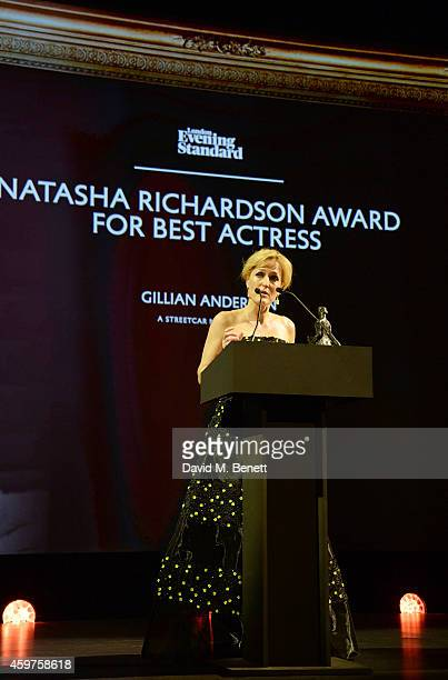 Gillian Anderson accepts the Natasha Richardson award for Best Actress for 'A Streetcar Named Desire' at the 60th London Evening Standard Theatre...