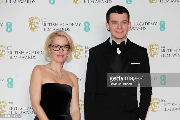 Gillian Anderson and Asa Butterfield pose in the Winners Room at the EE British Academy Film Awards 2020 at Royal Albert Hall on February 2 2020 in...
