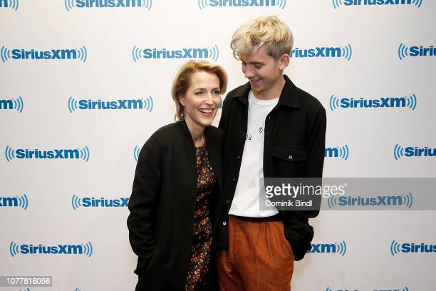 Gillian Anderson and Asa Butterfield visit SiriusXM Studios on December 05 2018 in New York City