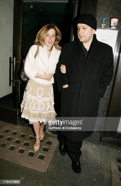 Gillian Anderson and Clyde Klotz during PreBAFTA Party for Vogue at the Cecconi Restaurant February 17 2006 at Cecconi Restaurant in London Great...