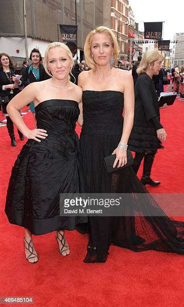 Gillian Anderson and daughter Piper Maru Anderson Klotz attend The Olivier Awards at The Royal Opera House on April 12 2015 in London England