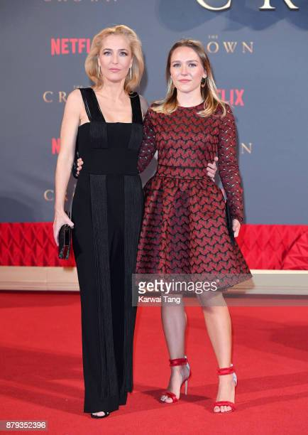 Gillian Anderson and daughter Piper Maru Klotz attend the World Premiere of Netflix's The Crown Season 2 at Odeon Leicester Square on November 21...