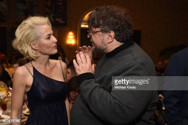 Gillian Anderson and Guillermo del Toro attend the 18th Annual AFI Awards at Four Seasons Hotel Los Angeles at Beverly Hills on January 5 2018 in Los...