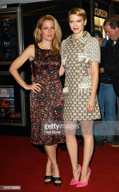 Gillian Anderson and Lea Seydoux attend the Premiere of 'Sister' during the 56th BFI London Film Festival at Curzon Cinema Mayfair on October 12,...