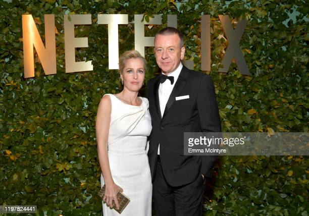 Gillian Anderson and Peter Morgan attend the Netflix 2020 Golden Globes After Party on January 05, 2020 in Los Angeles, California.