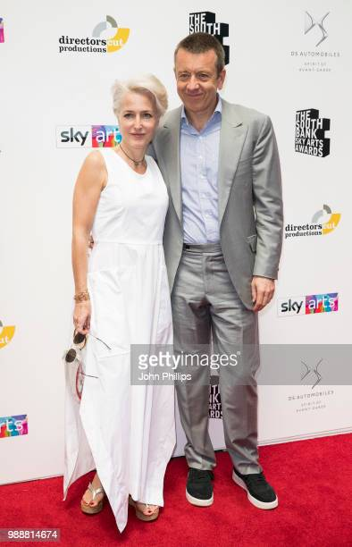 Gillian Anderson and Peter Morgan attend The Southbank Sky Arts Awards 2018 at The Savoy Hotel on July 1 2018 in London England