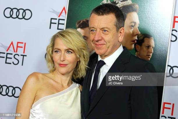 Gillian Anderson and Peter Morgan attend the The Crown premiere during AFI FEST 2019 Presented By Audi at TCL Chinese Theatre on November 16 2019 in...