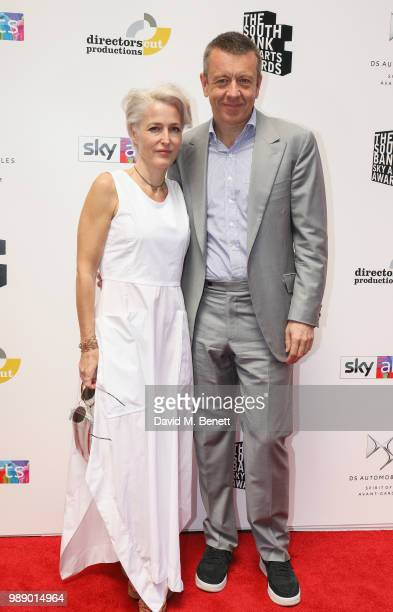 Gillian Anderson and Peter MorganÊattend The South Bank Sky Arts Awards 2018 at The Savoy Hotel on July 1 2018 in London England Airing on 4th July...