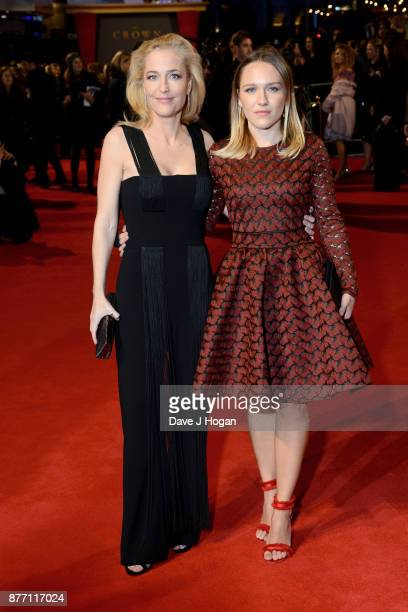 Gillian Anderson and Piper Maru Klotz attend the World Premiere of season 2 of Netflix The Crown at Odeon Leicester Square on November 21 2017 in...