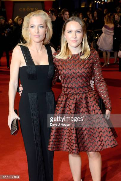Gillian Anderson and Piper Maru Klotz attend the World Premiere of season 2 of Netflix 'The Crown' at Odeon Leicester Square on November 21 2017 in...
