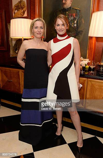 Gillian Anderson and Ruth Wilson attend a dinner in honour of Justine Picardie to celebrate the book 'Dior by Avedon' at the Beaumont Hotel on...