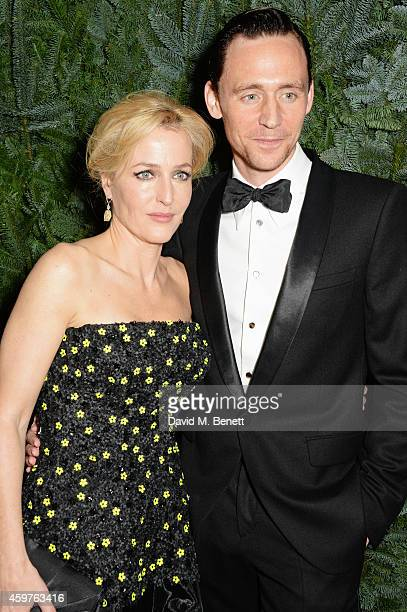 Gillian Anderson and Tom Hiddleston attend a champagne reception at the 60th London Evening Standard Theatre Awards at the London Palladium on...