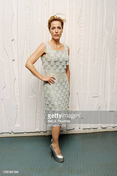 Gillian Anderson arrives at the Calvin Klein Collection Dinner to Celebrate the new home of London's Design Museum at The Design Museum on October 13...