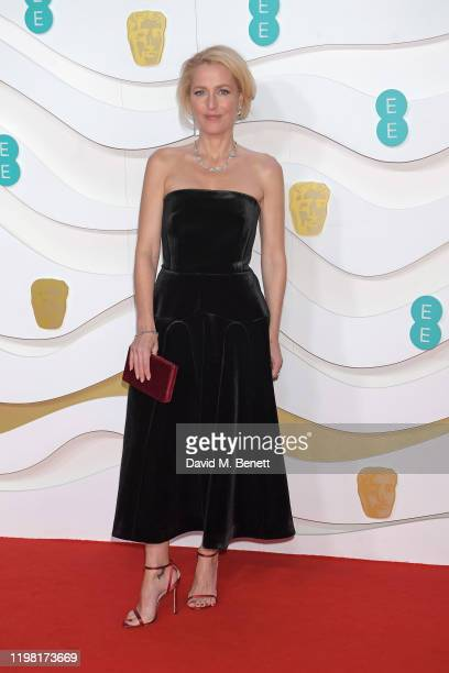 Gillian Anderson arrives at the EE British Academy Film Awards 2020 at Royal Albert Hall on February 2 2020 in London England