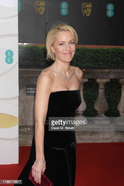 Gillian Anderson arrives at the EE British Academy Film Awards 2020 at Royal Albert Hall on February 2, 2020 in London, England.