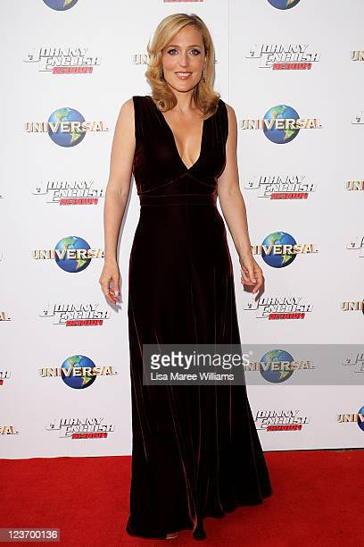 """Gillian Anderson arrives at the """"Johnny English Reborn"""" world premiere at The Entertainment Quarter on September 4, 2011 in Sydney, Australia."""