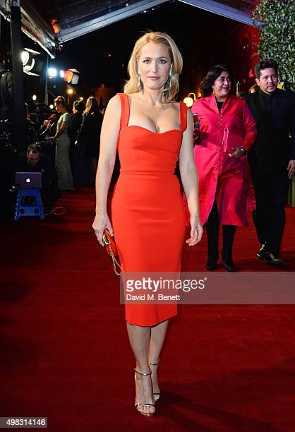 Gillian Anderson arrives at The London Evening Standard Theatre Awards in partnership with The Ivy at The Old Vic Theatre on November 22 2015 in...