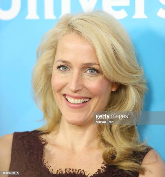 Gillian Anderson arrives at the NBC/Universal 2014 TCA Winter press tour held at The Langham Huntington Hotel and Spa on January 19, 2014 in...