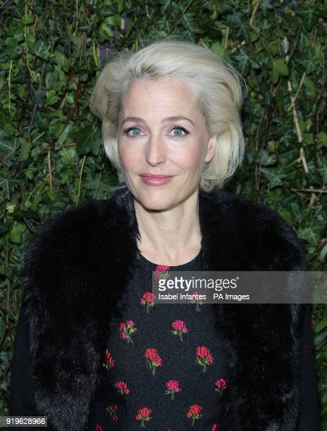 Gillian Anderson arriving at the Charles Finch and Chanel preBafta party at the Mark's Club in Mayfair London